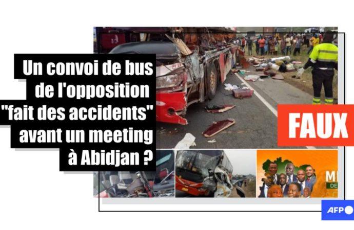 Non, il n'y a pas eu d'accident de bus transportant des partisans de l'opposition à un meeting à Abidjan