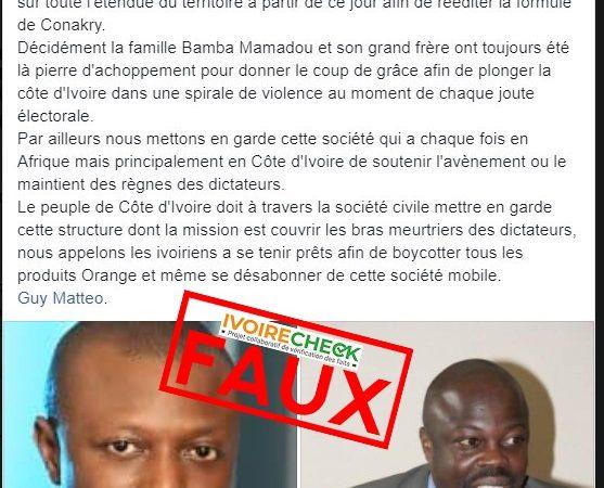 Faux, il n'y a pas de coupure d'internet en fine préparation par orange Côte d'Ivoire