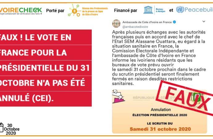Faux ! le vote en France pour la Présidentielle du 31 octobre n'a pas été annulé