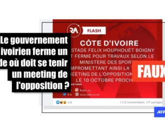 Non, le gouvernement ivoirien n'a pas fermé pour travaux le stade d'Abidjan avant un meeting de l'opposition