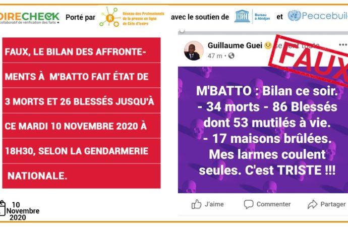 Faux, des affrontements intercommunautaires n'ont pas fait 34 morts, 86 blessés et 53 mutilés à M'Batto