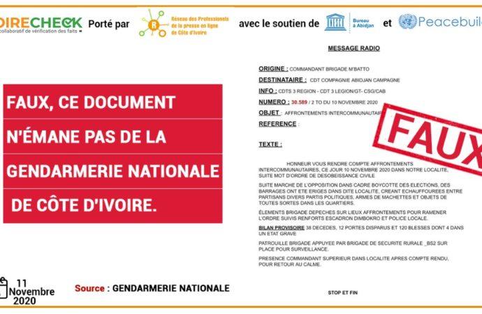 Faux, ce document n'émane pas de la gendarmerie nationale de Côte d'Ivoire